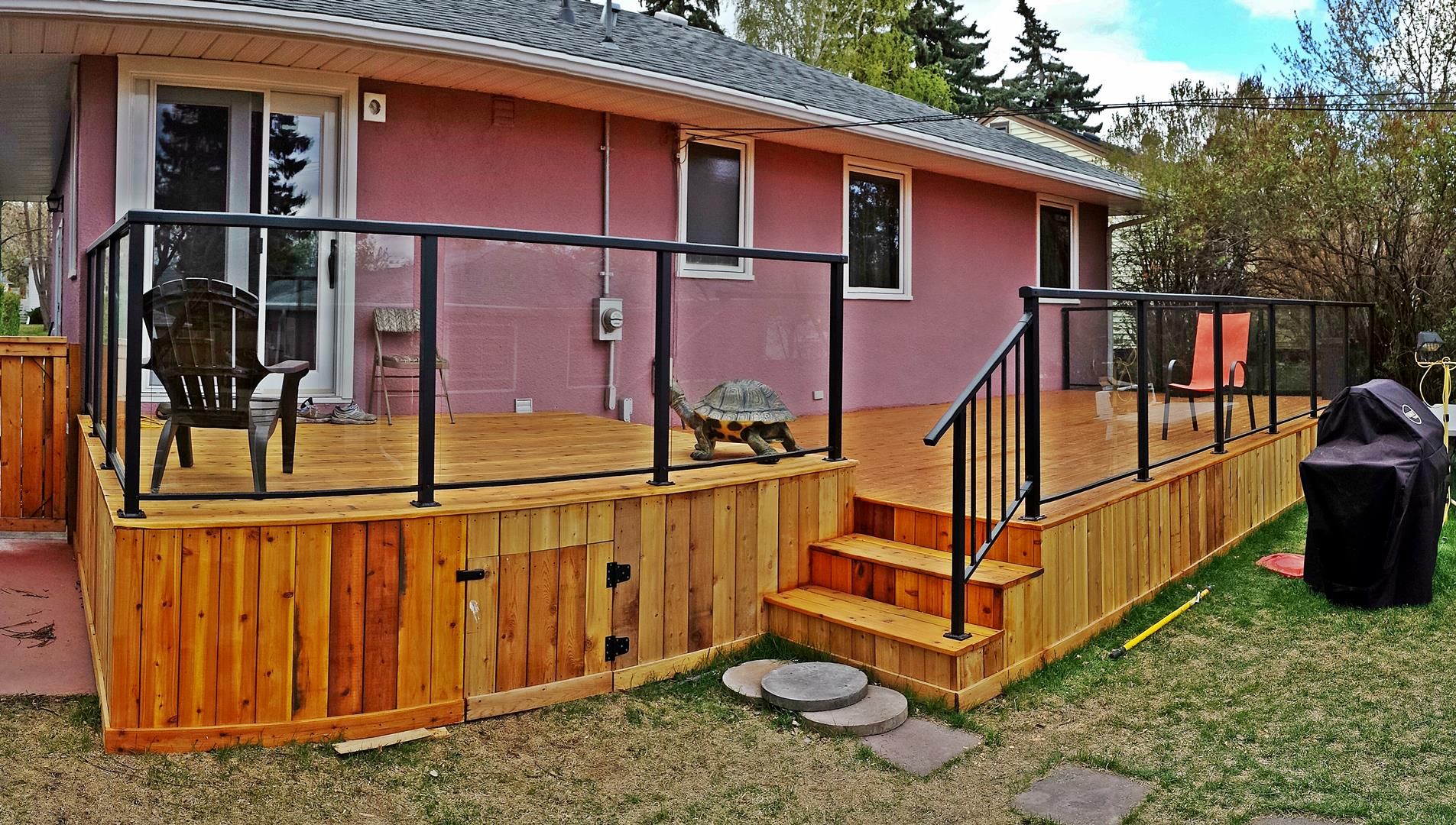 cedar deck glass railing